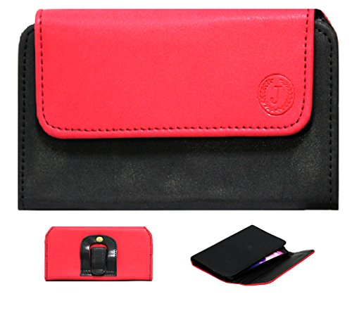 Jo Jo A4 Nillofer Belt Case Mobile Leather Carry Pouch Holder Cover Clip For Iball Andi 4.5V Baby Panther Red Black