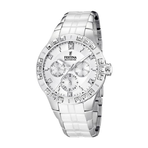 Festina Ladies Quartz Watch with White Dial Analogue Display and Multicolour Stainless Steel Bracelet F16558/1