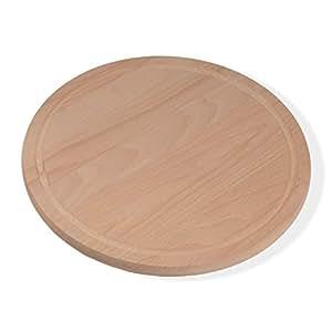 Holzsysteme24 05019 Pizzabrett Frühstücksbrett rund Durchmesser, 36 cm, 1.9 cm dick, buche gedämpft