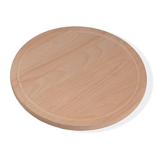 Holzsysteme24, 05019, tagliere rotondo per pizza e colazione, diametro 36 cm, spessore 1,9 cm, in legno di faggio trattato con vapore