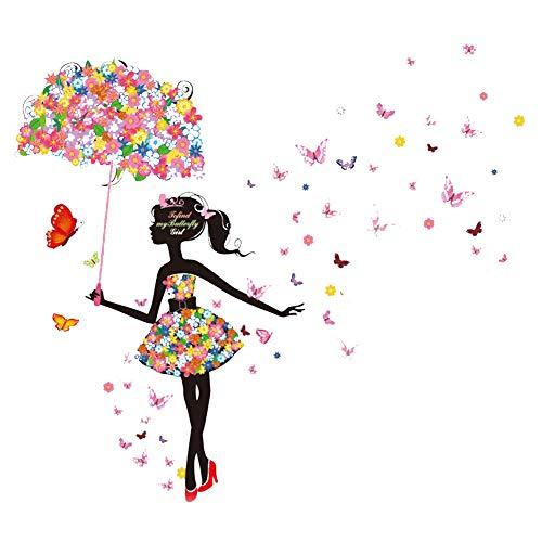 Trifycore Regenschirm-Mädchen-Wand-Aufkleber Romantische Schmetterlings-Mädchen-Wandaufkleber für Wohnzimmer Schlafzimmer Spielzimmer Flur Dekor, DIY & Tools