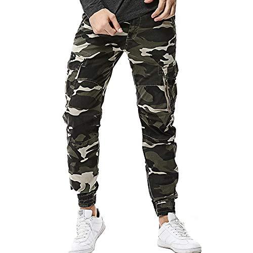 Xmiral Pantalones Largos para Hombre Cargo Camuflaje Slim Fit Ocio Senderismo Acampada Algodón (Verde,M/ES 36-38)