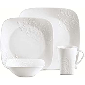 Exceptional Corelle 16 Piece Vitrelle Glass Cherish Chip And Break Resistant Embossed Dinner  Set, Service For 4, White