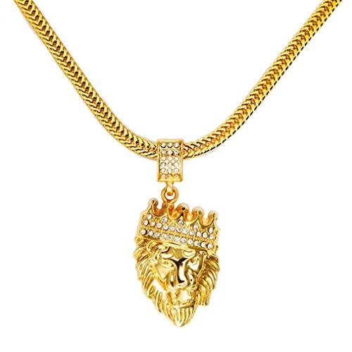 DUlijun Europei e americani diamante sottile corona pendente collana dissolvenza fino a diventare Lionhead