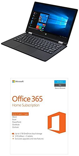 iOTA 360 11.6'' Convertible Touch HD Laptop (Silver) - (Intel Quad Core Atom Z8350 (Burst 1.92GHz) Processor, 2 GB RAM, 32 GB eMMC Storage, QWERTY UK Keyboard, Windows 10) with Microsoft Office 365 Home