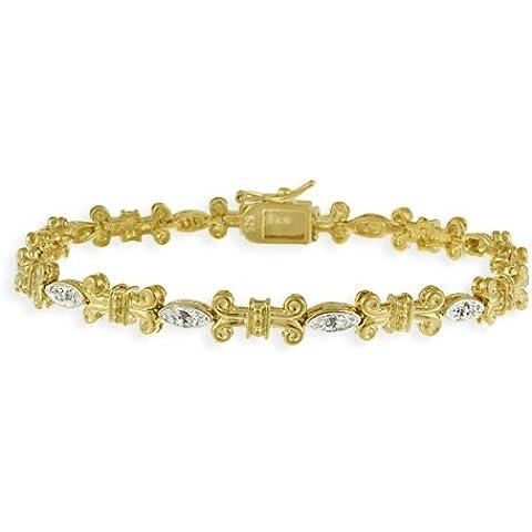 In argento Sterling placcato oro 18 kt, diamante Accent, Scroll e Bracciale con (Accent Diamante Bracciale)