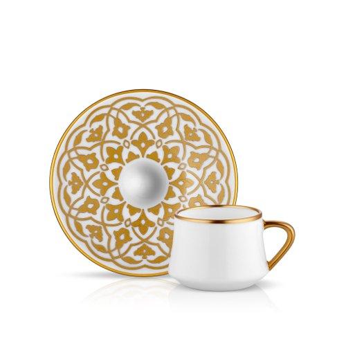Koleksiyon Espresso-/Mokka-Tasse und Untertasse aus Bone China Porzellan mit Goldener Tulpenverzierung 90 ml 6er Set -