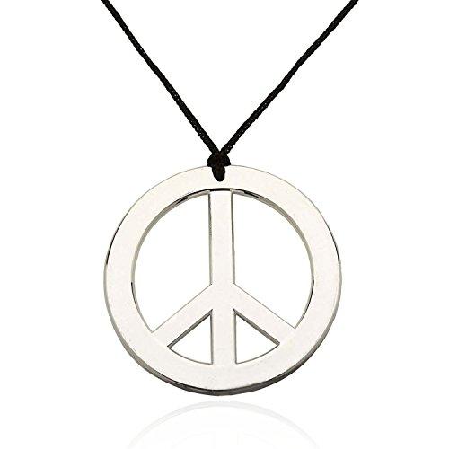 - Halskette Peace Anhänger, Flower Power Hippie Kette Silber + Kordel ()