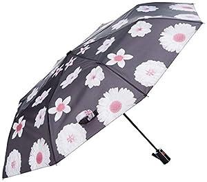 PERLETTI 25984 Lady Mini 54/8 Aut - Paraguas de 3 Secciones, Color Negro con Flores Blancas y Resistente al Viento