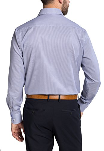 Eterna Long Sleeve Shirt Comfort Fit Twill Striped Blu