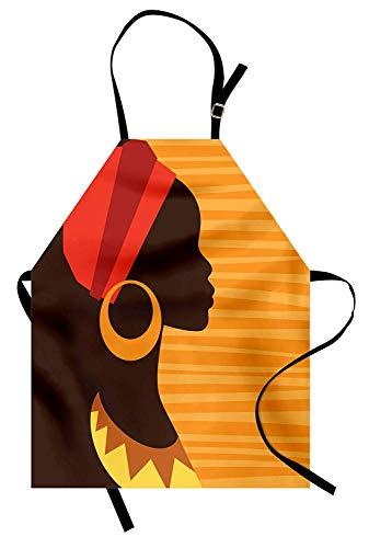 Afrikanische Schürze, Mädchen Profil Silhouette mit Ohrringen Feminine Anmut Ethnic Icon Image, Unisex-Küche Latzschürze mit verstellbarem Hals zum Kochen Backen Gartenarbeit, Dunkelbraun und Ringelbl