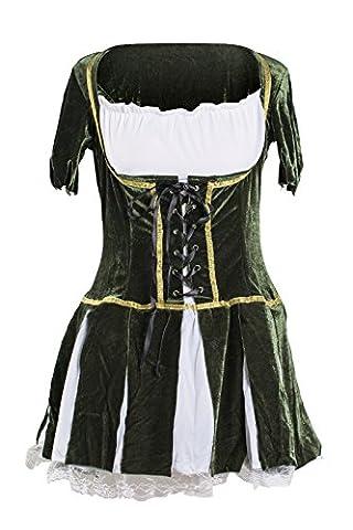 Schickes Robin Hood Kleid Kostüm von Emma's Wardrobe – Beinhaltet grünes Kleid und Hut mit künstlicher Feder – Robin Hood Kostüm oder Peter Pan Kostüm für Halloween oder Junggesellinnenabschiede – EU Größen (Weiblich Peter Pan Kostüm)