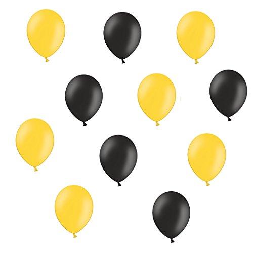 50 x Premium Luftballons je 25 Schwarz und Gelb - ca. Ø 28cm - EU WARE nach EN 71 - Ballons als Fanartikel, Fußball, Deko, Party, Länder - Farbe Schwarz & Gelb - für helium geeignet - twist4®