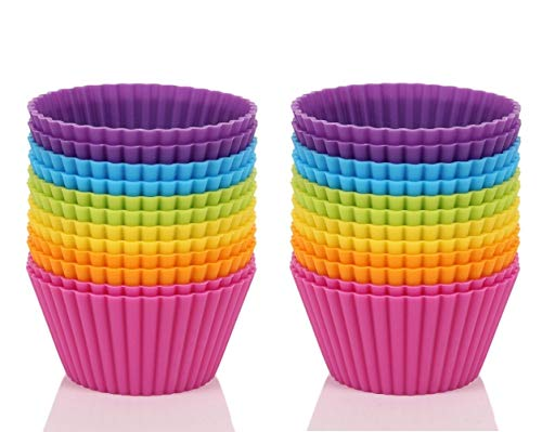 ONYADD Cake, 4.3-inch Non-Stick Jumbo Silicone Cupcake, Baking Cups, Muffin Liners Pack of 24, Raibow 7 Non-stick-liner