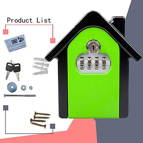 Key Lock Box , Kombinationsschlüssel für die Wandmontage Safe Storage Lock Box für die Garage zu Hause Schulersatzhausschlüssel150 * 95 * 50mm, grün -