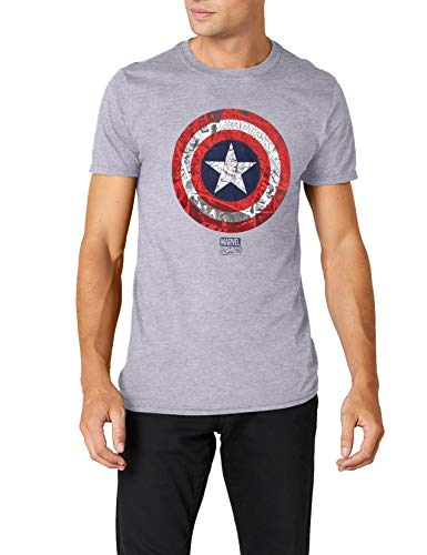 2ee7a87423e1 Marvel Ca Comic Shield T-Shirt, Gris (Sport Grey SPO), XL