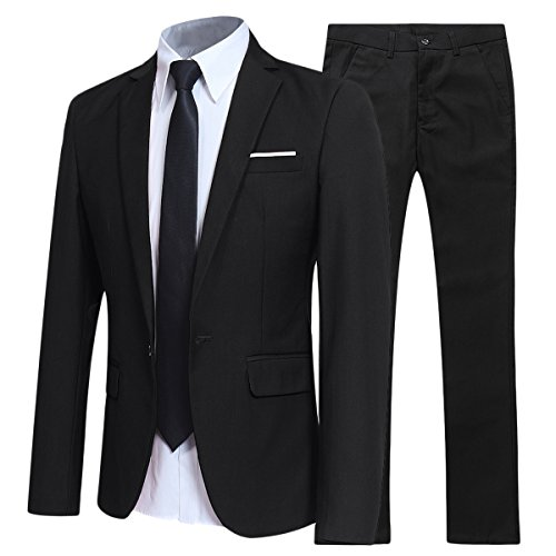 eilig Slim FIT Business Anzug Schwarz Large ()