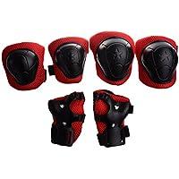 SODIAL(R) Kit protezione per ginocchia gomiti polsi pattini in linea ginocchiere gomitiere e polsiere rosso e nero per bambini