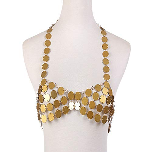 Huangjiahao Körperkette Frauen Pailletten Strand Weste Halskette Körperkette für Metallkette Multi-Sequined Chest Chain Beach Nightclub Partyzubehör (Color : Yellow, Size : Free Size) - Dressing Frauen Weste