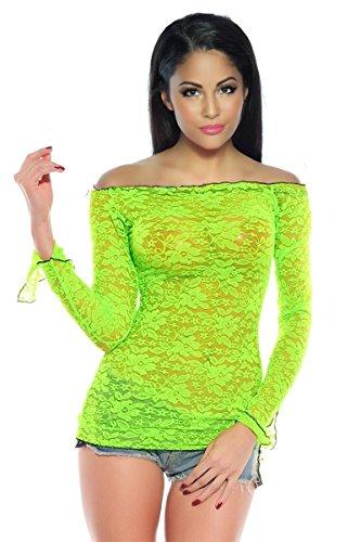 Trendiges Spitzen-Shirt / Top aus Spitze langarm mit U-Boot Ausschnitt in Neonfarben OS onesize (36-38), Größe Atixo:OS