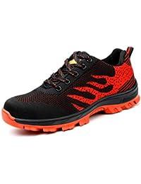 Axcer Unisex Hombre Zapatillas de Seguridad con Puntera de Acero Antideslizante Transpirable S3 Zapatos de Trabajo Calzado de Trabajo Deportivos Botas de Protección Industria Construcción