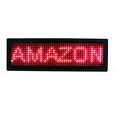 Leadleds USB Rechargeable Programmable Scrolling LED Name Badge for your T-shirt Message Moving Display Tag (RED)