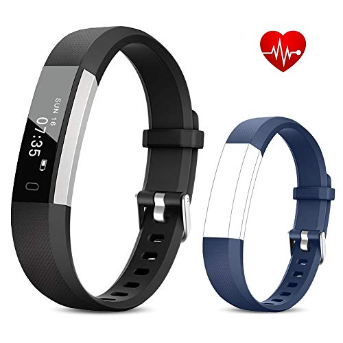 TOOBUR Fitness Armband Uhr, Schmal Wasserdicht Fitness Tracker mit Herzfrequenz Schrittzähler Schlafmonitor und Kalorienzähler, Aktivitätstracker Armbanduhr für Damen Herren und Kinder