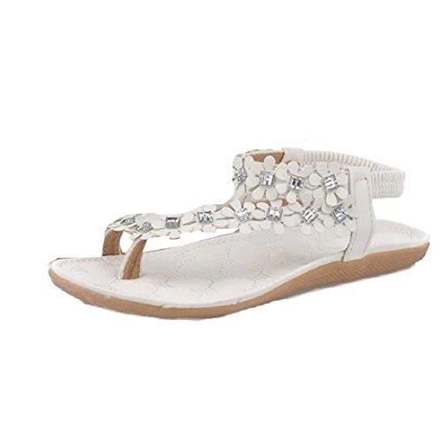 Tongshi Granos de la flor de las mujeres del verano de Bohemia de los zapatos flip-flop sandalias planas (EU(38), Blanco)