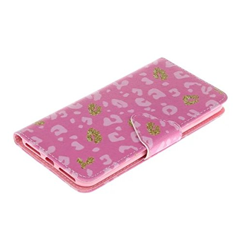 iPhone 7 Plus Hülle, iPhone 7 Plus Cover Hülle, Gift_Source [ Bär ] Premium Leder Tasche Flip Case Hülle im Bookstyle mit Standfunktion Kartenfächer Magnetverschluss für Apple iPhone 7 Plus E1-Pink Leopard