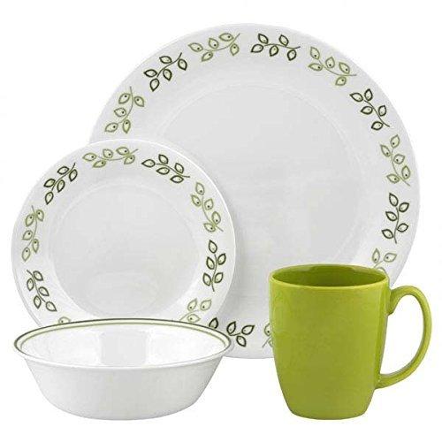 Corelle Geschirr-Set Neo Leaf aus Vitrelle-Glas für 4 Personen 16-teilig, Splitter- und bruchfest, grün (Grün Geschirr Corelle)