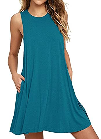 HAOMEILI Women's Sleeveless Casual Loose T-Shirt Dress (Acid Blue M)