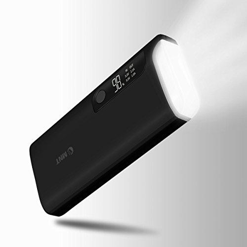 EMNT Externer Akku 15600mAh Power Bank Portable Smart Ladegerät Mit zwei Anschlüssen (insgesamt 3,1 A), LCD-Anzeige und LED-Taschenlampe für iPhone, iPad, Samsung Galaxy und weitere Schwarz