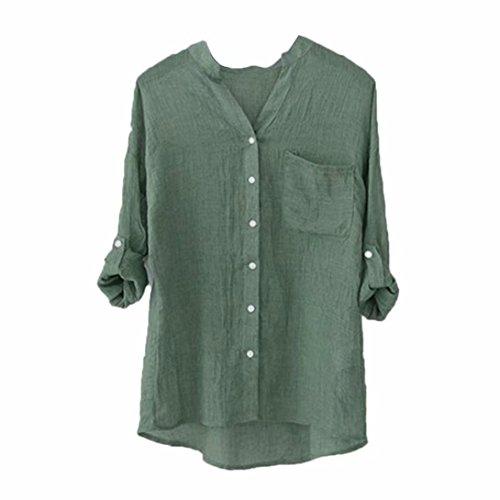 SUNNSEAN Clearance!Damen Langarm Lose Langarmshirts Knopf Einfarbig Bluse Frauen Klassiker T-Shirt Mode Shirt Elegante Gut Aussehend Lange Ärmel