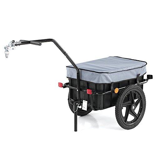 iKayaa Bike Cargo Anhänger   Handwagen   Fahrrad Gepäckanhänger   Fahrradanhänger   Transportanhänger   Lastenanhänger   Anhänger Cart Carrier   mit Transport Box & Abdeckung