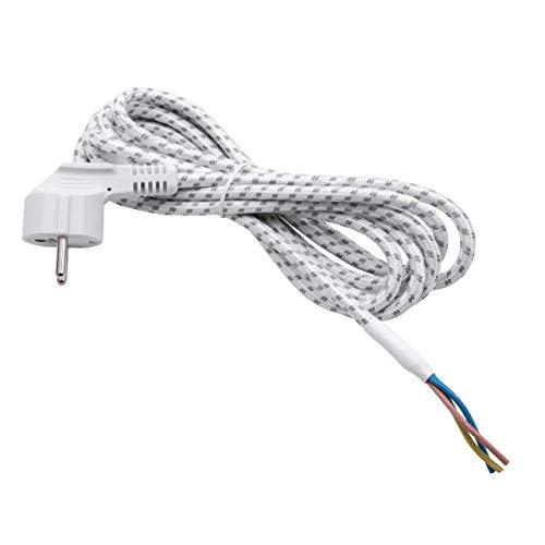 vhbw Stromkabel für Bügeleisen 2,80m Textilmantel Schutzkontakt-Stecker