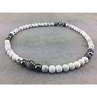 Halskette Kette Perlenkette Designerschmuck Howlith für Herren Männer Damen Frauen Schmuck Biker Surfer Rocker Business-Style weiss Edelstahl K_71b