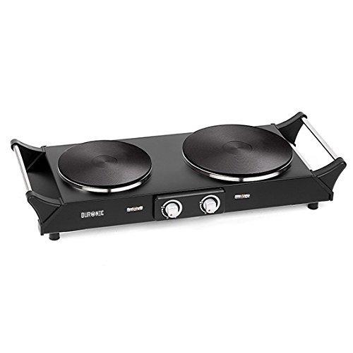 Duronic HP2BK Table de cuisson avec 2 plaques en fonte - 2500W - Poignées intégrées