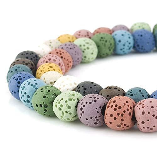 Zeagro 8mm Farbe Lava Edelstein Perlen Energie Stein Heilkraft Lose Perlen für Schmuck Machen 48~50 stücke