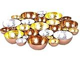 Grafinteriors Kerzenständer/Teelichthalter Gold – roségold – Silber/Rondell 3farbig aus Metall/wunderschöne Dekoration Advent und Weihnachten/Tischdekoration