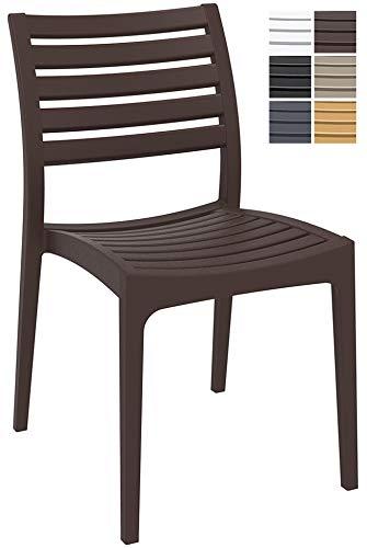 CLP Gartenstuhl ARES aus Kunststoff l Küchenstuhl belastbar bis 160 kg l Wasserabweisender, UV-beständiger Stapelstuhl Braun