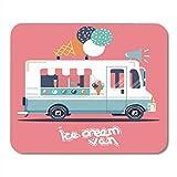 Deglogse Tappetino per mouse da gioco, Car White Truck Van Retro Vintage Ice Cream Food Small Mouse Pad