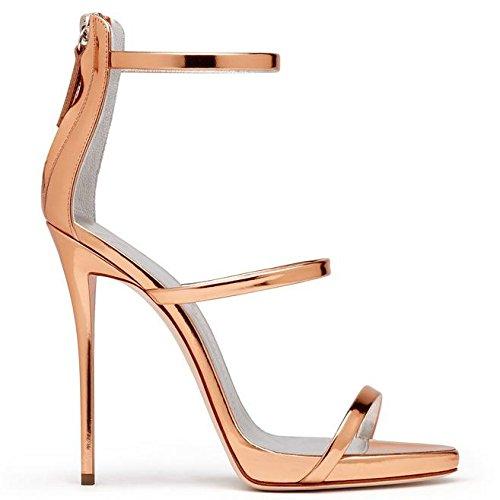 SONGYUNYANRetro en cuir talons dames fait main robe sandales Gold