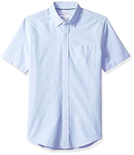 Amazon Essentials Slim-Fit Short-Sleeve Solid Pocket Oxford Shirt Freizeithemd, Blau Blu), US S (EU S) -