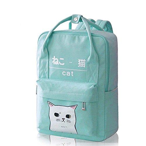 donne ragazze stile giapponese e coreano borse Kawaii gatto tela scuola zaino, Black Green
