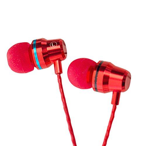 LBOJA Microfono in-ear di colore metallizzato di moda Controllo volume Auricolare con filo metallico - Rosso