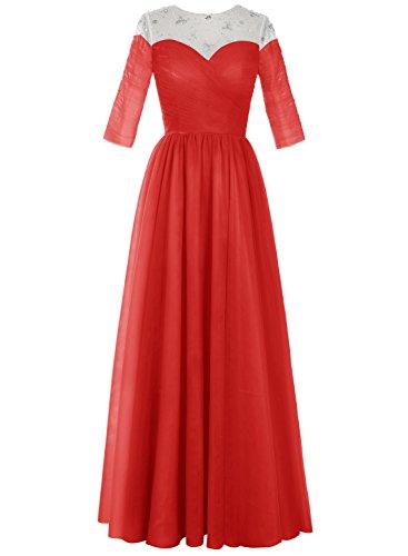 Bbonlinedress Robe longue de cérémonie en tulle forme empire avec manches Rouge