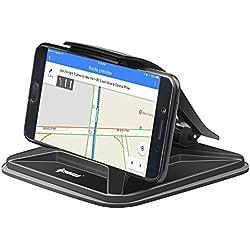 ipow Support Téléphone Voiture Universel avec Pince,Tapis Adhésif en Silicone pour Porte Telephone Auto,Fixation sur Tableau de Bord/Bureau pour GPS/GSM/Smartphone,Compatible avec iPhone X/8/7 Plus