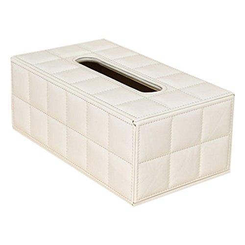 Boite a mouchoirs - TOOGOO(R)Boite a mouchoirs rectangle de voiture maison en faux cuir Porte-papier Case blanc