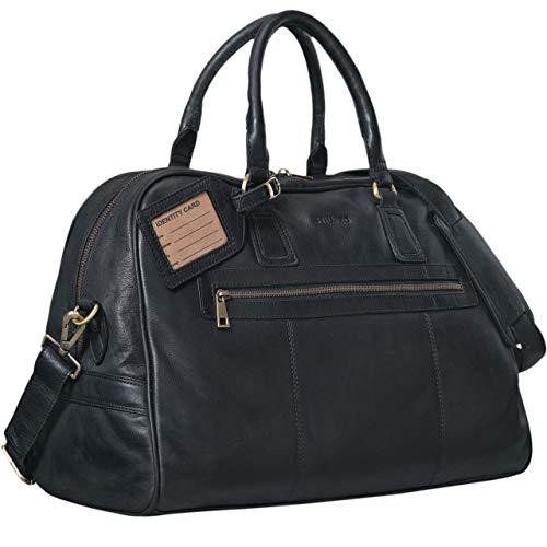 STILORD Vintage Reisetasche \'Dakota\' Weekender Bag in Kabinengröße aus echtem Büffel Leder, Farbe:schwarz