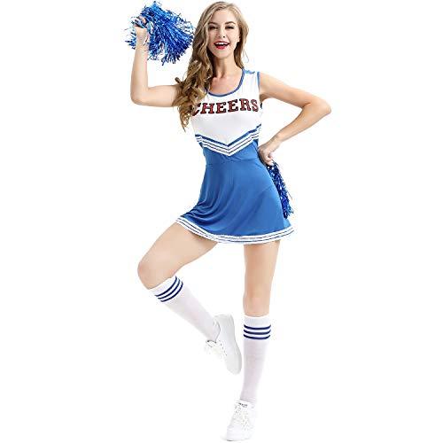 Cheerleader Kostüm Damen, College High School Mädchen musikalische Uniform Fancy Dress mit Pompons, 4 Farben - 5 Größen zu - Womens Blue Cheerleader Kostüm